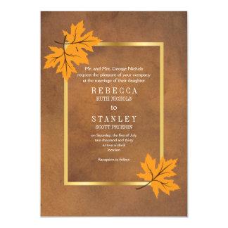 Folhas de bordo alaranjadas no casamento de papel convite 12.7 x 17.78cm