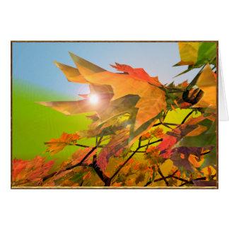 Folhas de bordo alegres do outono cartão comemorativo