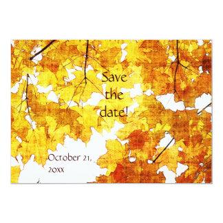 folhas de bordo amarelas que wedding o anúncio convite 12.7 x 17.78cm