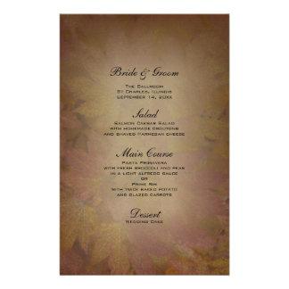 Folhas de bordo coloridas que Wedding o menu Papéis Personalizados