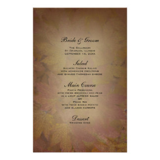 Folhas de bordo coloridas que Wedding o menu Papelaria
