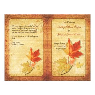 Folhas de bordo da queda que Wedding o programa Panfleto Personalizado
