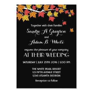 Folhas de bordo de queda pretas que Wedding o Convite 12.7 X 17.78cm