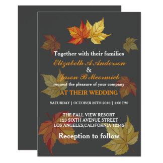 Folhas de bordo de queda simples que Wedding o Convite 12.7 X 17.78cm
