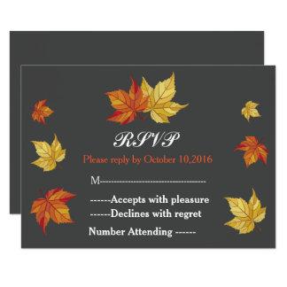 Folhas de bordo de queda simples que Wedding RSVP Convite 8.89 X 12.7cm