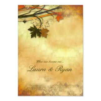 Folhas de bordo do convite do casamento do outono
