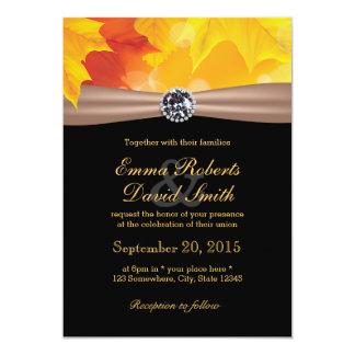 Folhas de bordo elegantes & casamento do outono do convite 12.7 x 17.78cm