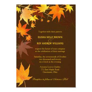 Folhas de bordo finos de Brown do outono que Convite 12.7 X 17.78cm