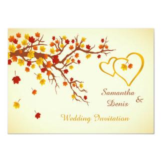 Folhas de bordo outonais, corações que Wedding o Convite 11.30 X 15.87cm