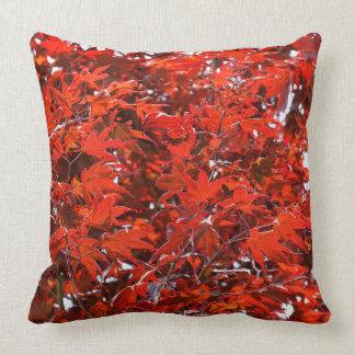 Folhas de bordo vermelhas almofada