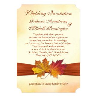 Folhas de bordo vermelhas e douradas que Wedding o Convite 12.7 X 17.78cm
