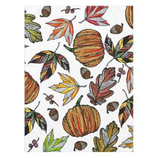 Folhas de outono abóbora da queda e ilustração das toalha de mesa