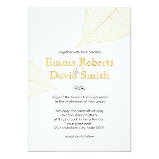 Folhas de outono amarelas simples que Wedding Convite 12.7 X 17.78cm
