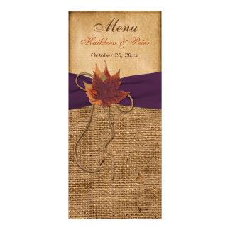 Folhas de outono, cartão do menu do casamento de s 10.16 x 22.86cm panfleto