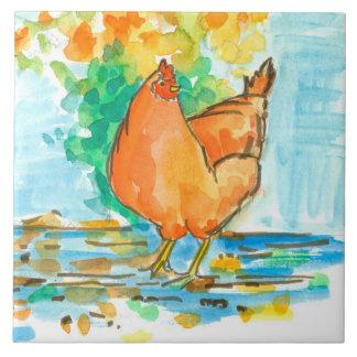 Folhas de outono da galinha da galinha da aguarela azulejo quadrado grande