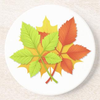 Folhas de outono porta copos de arenito