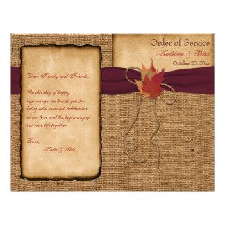 Folhas de outono programa do casamento de panfletos