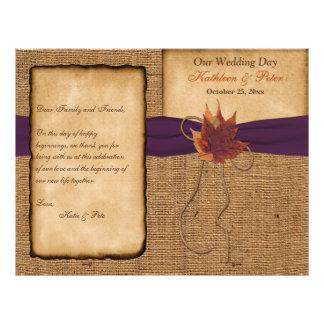 Folhas de outono, programa do casamento de serapil modelo de panfleto