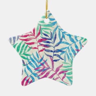 Folhas de palmeira tropicais da aguarela II Ornamento De Cerâmica Estrela
