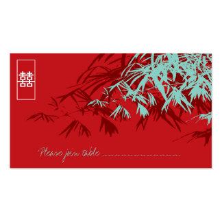 Folhas do bambu + Cartão do lugar de turquesa do v