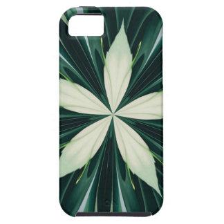 Folhas do branco em um caleidoscópio verde da capa tough para iPhone 5