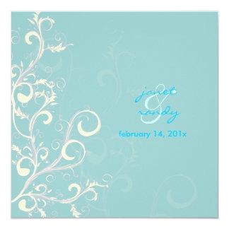 Folhas do Flourish/redemoinhos/azul Convite Quadrado 13.35 X 13.35cm