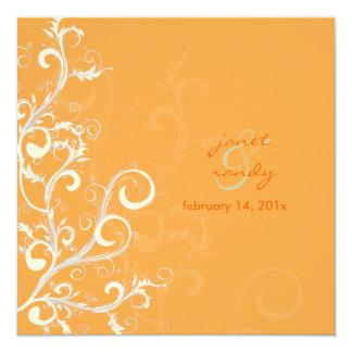 Folhas do Flourish/redemoinhos/laranja Convite Quadrado 13.35 X 13.35cm