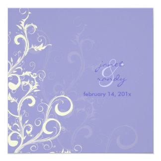 Folhas do Flourish/redemoinhos/lilac Convite Quadrado 13.35 X 13.35cm