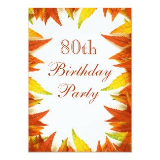 folhas do outono/queda da festa de aniversário do convite