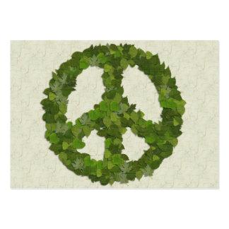 Folhas do verde da paz cartões de visita