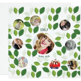 Folhas do verde do convite do aniversário da