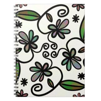 Folhas dos redemoinhos da flor cadernos