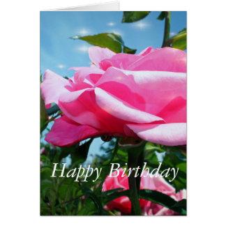 Folhas lindos da flor e do verde do rosa do rosa cartão de nota