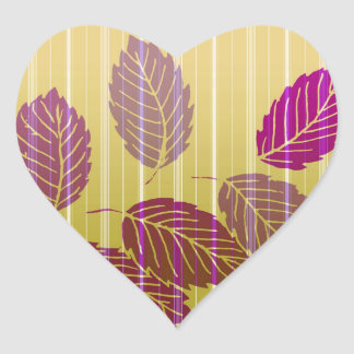 Folhas listradas elegantes adesivo coração
