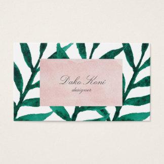 Folhas minimalistas do verde cartão de visitas