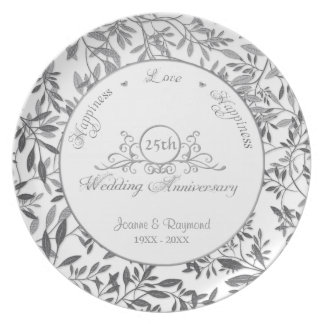 Folhas placa do aniversário de casamento da prata prato