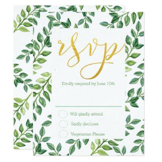 Folhas românticas do verde - cartão de casamento