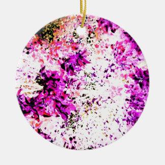 Folhas roxas ornamento de cerâmica redondo