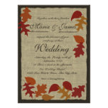 Folhas rústicas e casamento de serapilheira convite personalizados