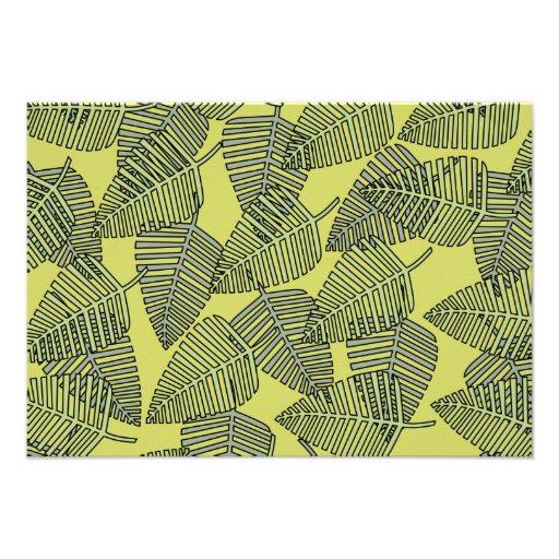 Folhas tropicais em cores verdes convites personalizados