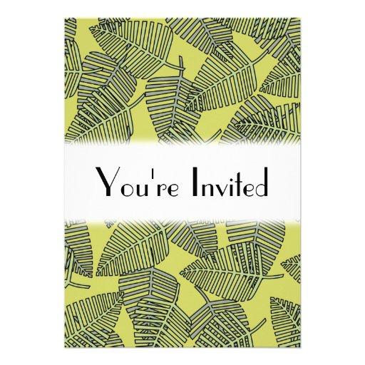 Folhas tropicais em cores verdes convites