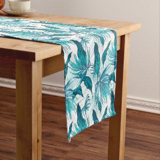 Folhas tropicais na cerceta caminho de mesa pequeno