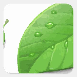 Folhas verdes adesivo quadrado