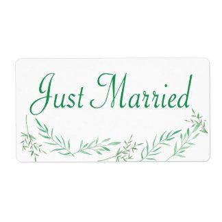 Folhas verdes do louro da etiqueta do casamento do