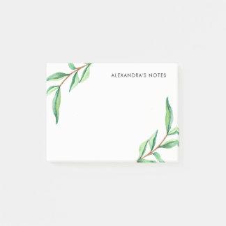 Folhas verdes minimalistas da aguarela no branco sticky note