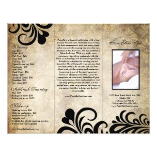 Folheto moderno sofisticado do salão de beleza do  panfletos personalizados