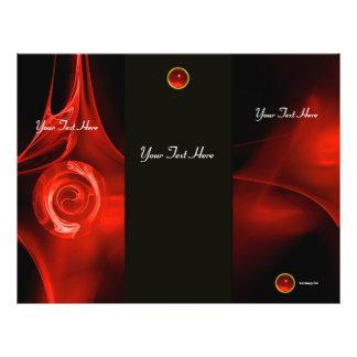 Folheto vermelho brilhante da dobra do preto 3 do  panfleto personalizado