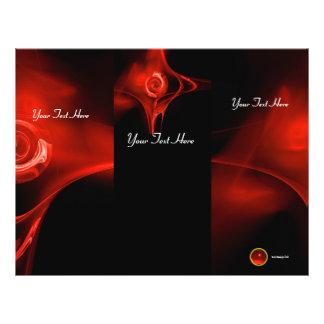 Folheto vermelho brilhante da dobra do preto 3 do panfleto