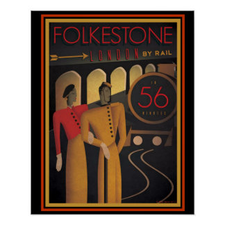 Folkestone Londres pelo poster 16 x 20 do art deco