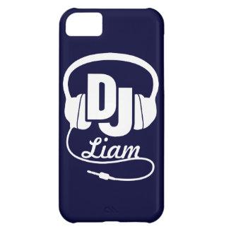 Fones de ouvido DJ nomeados capas de iphone azuis